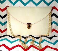 White Crossbody Envelope Clutch Chain Strap Purse - Vegan Friendly 7x11""