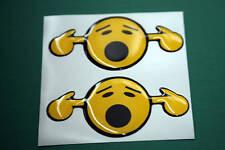 2 en dôme loud Smiley autocollants jaune 75 mm x 35 mm