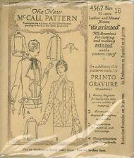Vintage 1921 Ladies Blouse Sewing Pattern M4567 Size 16