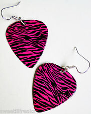 HOT PINK ZEBRA PRINT GUITAR PICK EARRINGS! ROCKABILLY PUNK GLAM GOTHIC DERBY EMO