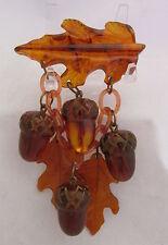 Vintage Bakelite Dangle Bar Pin Fall Carved Oak Leaves&Acorns Amber Root Beer