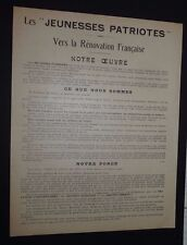 POLITIQUE JEUNESSES PATRIOTES PIERRE TAITTINGER 1928 LIGUE PATRIOTIQUE