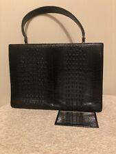 Kelly Vintage Real Crocodile Patent Leather Handbag Black M Good Condition