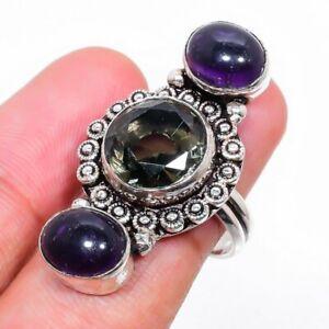 Smoky Quartz, Amethyst Gemstone 925 Sterling Silver Jewelry Ring Size 6