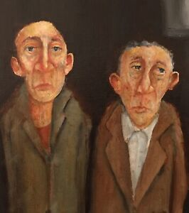 Two figures waiting. An original oil painting.