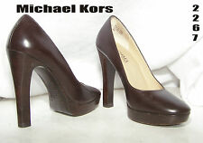 #2267 Michael Kors  Women's Brown Platform Wood Textured High Heel Pumps Size 4