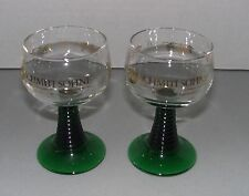 Schmitt Sohne Winery - 0.1L Wine Glasses - Clear w/ Green Ribbed Stem - Set of 2