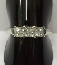 18ct White Gold 12 Stone Princess Cut Diamond Ring Size O