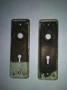 2 Beautiful copper ornate door back plates skeleton key type. Antique