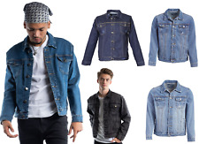 Mens Denim Jean Jacket Stretch Jean Jacket Distressed Bleached Denim Jacket