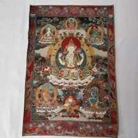 "36"" Tibet Tibetan Cloth Silk 4 Arm Guanyin Kwan-yin Tangka Thangka Mural #10"