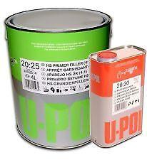 U-pol 2K High Build WHITE 5Ltr Car Primer S2025 4L+1Ltr FAST Hardener/Activator