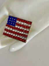 New listing Vintage Red, White, Blue Rhinestone Us Flag Motif Pin Brooch Rhodium Plated