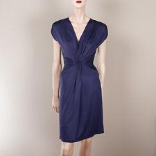 MANGO Damen Kleid S XS 34 Blau Party Style Raffung Schmale Taille Satin Jersey