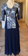 Geoff Bade Designer Skirt Suit In Blue & White Color, BNWT, Size 12, Flattering!