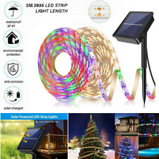 9.8ft/3M 90 LED Solar Powered Strip Lights Flexible Tape Outdoor Garden Yard