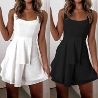 ❤️Women Sleeveless Backless Mini Dress Ladies Summer Soild Lace Up Swing Dresses
