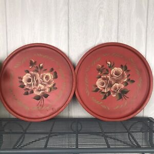 Vintage Nashco Hand Painted Round Tray Toleware Red Set of Two French Farmhouse