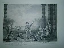 Planche gravure  Les charmes de la vie  d'après le tableau de Watteau