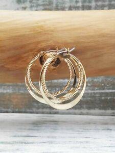 Anthropologie Gold Double Round Hoop Earrings