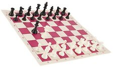 """Black & White Chess Pieces & 20"""" Pink Vinyl Board - Triple Weighted Chess Set"""