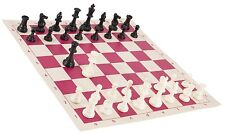 "Black & White Chess Pieces & 20"" Pink Vinyl Board - Single Weighted Chess Set"