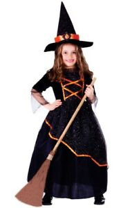 Dress Up America Girls Black and Orange Witch Costume