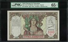 Tahiti Banque de l'Indochine 100 Francs 1963-65 GEM UNC Serial Number9 PMG65EPQ
