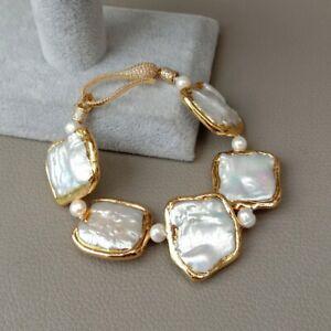 "8"" White Square Keshi Pearl Gold plated Bracelet"