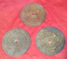 "3 Vintage Symphonion 5.75"" Metal Disks for Brevete Music Box (Nr)"