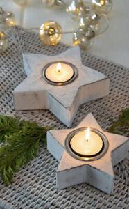 Set of 2 White Wooden Shabby Chic Style Star Tea Light Holders Candlesticks