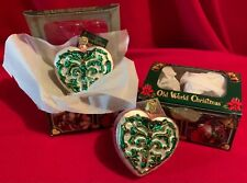 Baroque Heart,2001,Old World Christmas,Blown Glass,W/Tag,Set of 2,Boxed,Retired