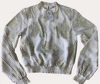 NEW RRP £20 River Island Lace Trim Ivory Glitter Blouse                    (U:2)