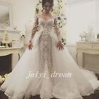New Detachable Long Train Wedding Dress Luxury 2016 Appliques Bridal Gowns Ivory