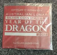 2012 australia 1oz silver dragon Gilded Coin COA (No Coin...COA Only)