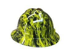 Hydrographic Yellow Fire MSA V-Guard Full Brim Hard Hat