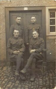 WWI c1918 RPPC Real Photo Postcard 4 Army Soldiers Uniforms 308th Engineers