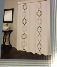 Hourglass Embroidered Modern Gray Black Ivory Ecru Fabric Shower Curtain New
