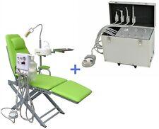 Portable Dental Turbine Unit Suction Air Compressor 4H + Fordable Dental Chair