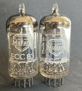 RARE MATCHED PAIR OF MULLARD HOLLAND ECC83 LONG PLATE D-FOIL GETTER mC6 1958/9