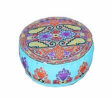 Embroidered Handwork Canvas Cotton Footstool Poufs Ottoman Cover