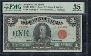 1923 Dominion of Canada $1 - DC-25b PMG Choice Very Fine 35. S/N: D-753597/A