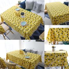 Pineapple Yellow Tablecloth Tassel Rectangular Table Cover Dining Home Decor New