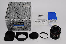 """""""Near Mint In Box"""" Konica M-Hexanon 28mm f/2.8 Lens for Leica M Mount Japan *1-1"""