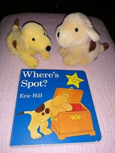 "Eden Eric Hill Spot Yellow Puppy Dog 5"" Plush Stuffed Toy Vintage 1993 LOT Book"