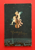 Glückwunsch AK NEUJAHR um 1910 Engel Schutzengel mit Geige Violine ( 56196