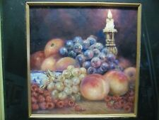 "James J Allen Signed Oil on Board ""Summer Fruits by Candle Light"" Still Life"