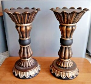 Pair Of PETER HARVEY Antique Gold Finish Carved Pedestal Candle Holders