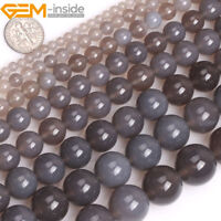 "Natural Grey Agate Gemstone Round Loose Beads For Jewellery Making Strand 15"" UK"