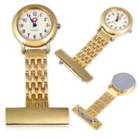 Best Brand Vintage Silver Stainless Steel Nurses Pocket Quartz Fob Watch Gold #+
